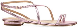 Via Spiga Calandre Flat Metallic Leather Sandals