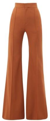 Chloé High-rise Wool-blend Flared Trousers - Womens - Brown