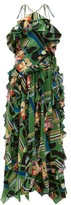 Gucci Floral Check-print Ruffled Silk-crepe Gown - Womens - Green Multi