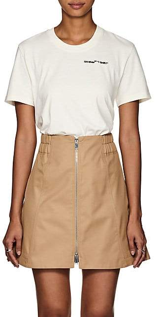 Off-White Off - White c/o Virgil Abloh Women's Logo-Embroidered Cotton T-Shirt - White