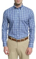Peter Millar Plaid Long-Sleeve Sport Shirt, Dark Blue