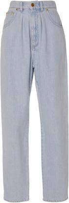 Alberta Ferretti Chambray-Effect Cotton Straight-Leg Pants
