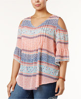 Style&Co. Style & Co Plus Size Cold-Shoulder Pleated Top, Created for Macy's