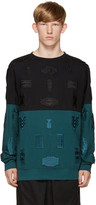 Marcelo Burlon County of Milan Black & Turquoise Embroidered Ollague Pullover