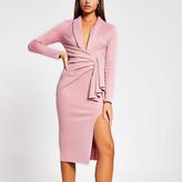 River Island Pink plunge midi bodycon dress