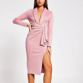 River Island Pink plunge midi bodycon dress