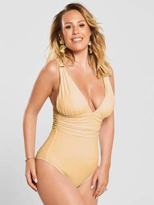 Kate Wright Ruched Waist High Leg Swimsuit - Nude