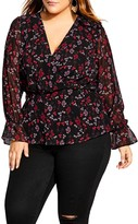 City Chic Floral Print Faux Wrap Top