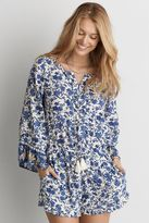 American Eagle Outfitters AE Lace-Up Long Sleeve Romper