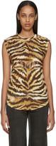 Balmain Gold & Brown Zebra Logo T-Shirt
