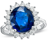 Zales Precious BrideTM Oval Blue Sapphire and 5/8 CT. T.W. Diamond Frame Engagement Ring in 14K White Gold