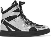 Marc by Marc Jacobs Ninja mesh-trimmed metallic leather high-top sneakers