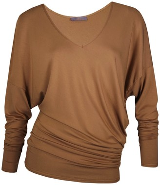 Me & Thee Eke Out Caramel Bamboo V Neck Top
