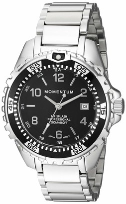 Momentum Women's Stainless Steel Japanese-Quartz Diving Watch with Rubber Strap