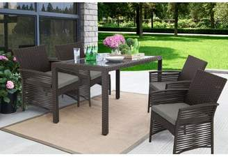 CLYDE Bay Isle Home Backyard Steel Frame 5 Pieces Dining Set with Cushions Bay Isle Home Color: Chocolate