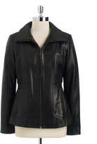 Cole Haan Stand-Up Collar Lambskin Leather Jacket