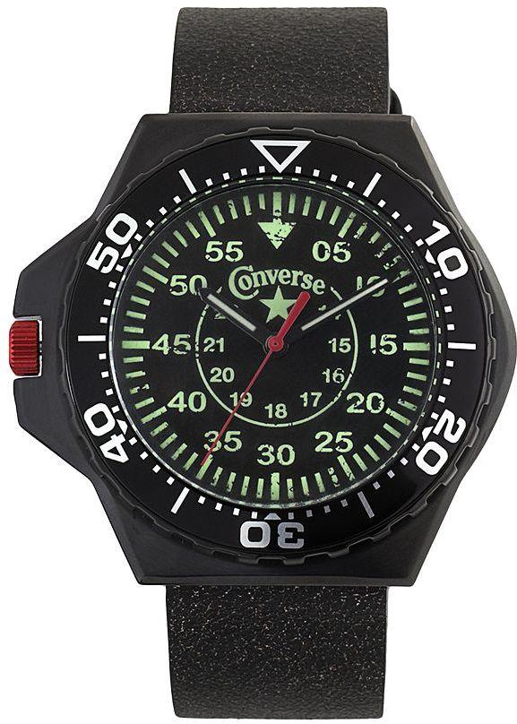Converse foxtrot culture stainless steel & aluminum black ion black leather watch - vr008001 - men