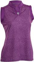 Asstd National Brand Sing Plus Sleeveless Sleeveless Animal Knit Polo Shirt Plus