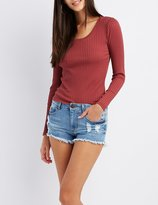 Charlotte Russe Ribbed Scoop Neck Top