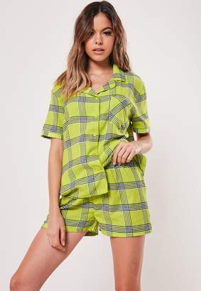 Missguided Green Flannel Check Print Pyjama Set