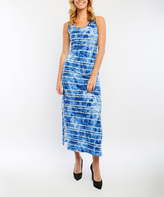 Navy Tie-Dye Sleeveless Maxi Dress