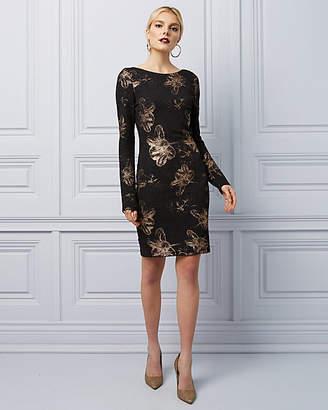 Le Château Foil Knit V-Back Cocktail Dress