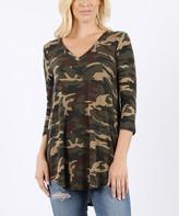 Zenana Women's Tee Shirts CAMOUFLAGE_IPB - Green Camouflage Three-Quarter Sleeve V-Neck Top - Women
