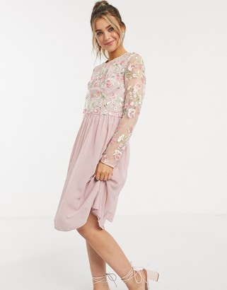 Chi Chi London embroidered lace midi dress in pink
