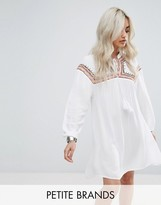 Missguided Petite Embroidered Cheesecloth Smock Dress