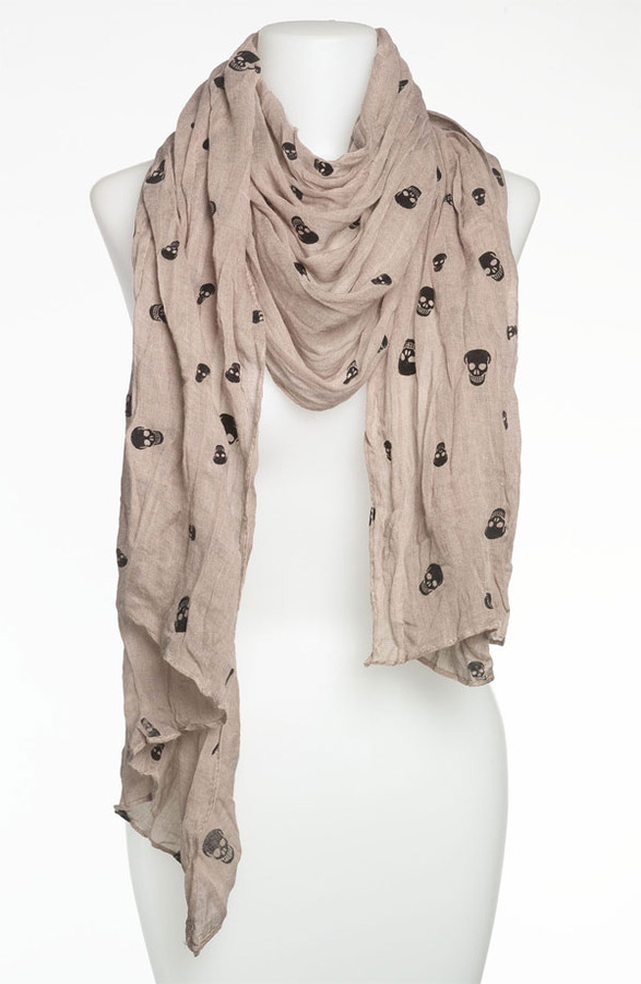 Roffe Accessories 'Fuzzy Mini Skull' Scarf