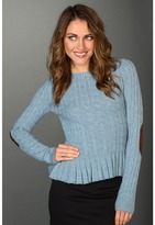 Autumn Cashmere Cable Button Back Peplum with Suede Elbow (Faded Denim) - Apparel