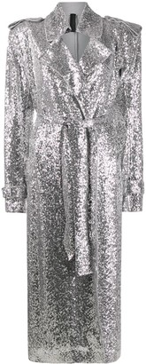 Norma Kamali sequinned trench coat