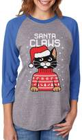 TeeStars Santa Claws Cat Ugly Christmas Sweater 3/4 Women Sleeve Baseball Jersey Shirt