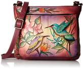 Anuschka Handpainted Leather Shoulder Bag Birds in Paradise Wine