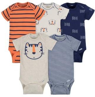Gerber Baby Boy Short Sleeve Onesies Bodysuits, 5-Pack