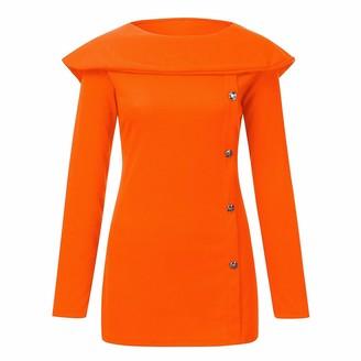HEFYBA Plain Slim Fit Jumper Sweater Women's Long Sleeve Ruffled O-Neck Solid Print Button Blouse Tops Clothes Orange