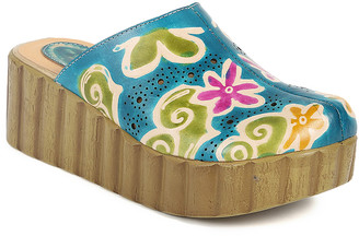 Sweet Acacia Women's Clogs Blue - Blue and Pink Floral Leather Clog - Women