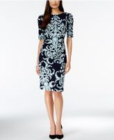 Connected Short-Sleeve Printed Sheath Dress