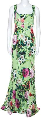 Dolce & Gabbana Green Floral Print Sleeveless Maxi Dress M