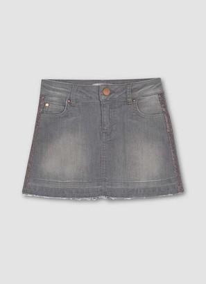 Mint Velvet Grey Glitter Trim Denim Skirt