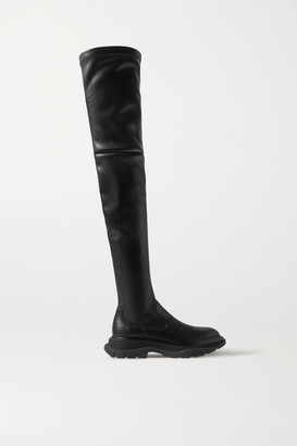 Alexander McQueen Leather Exaggerated-sole Over-the-knee Boots - Black