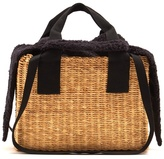 Muun Ninon faux-shearling and woven-straw bag