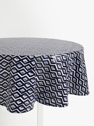 John Lewis & Partners Wipe Clean PVC Diamond Print Round Tablecloth, Blue/Multi, Dia.180cm