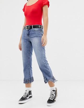 Glamorous frayed hem jeans-Blue