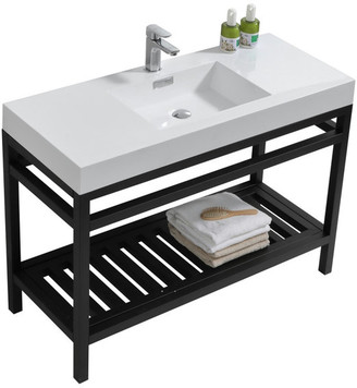 "Kube Bath Cisco 48"" Stainless Steel Console With Acrylic Sink, Chrome, Black"