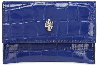 Alexander McQueen Envelope Croc Embossed Card Holder