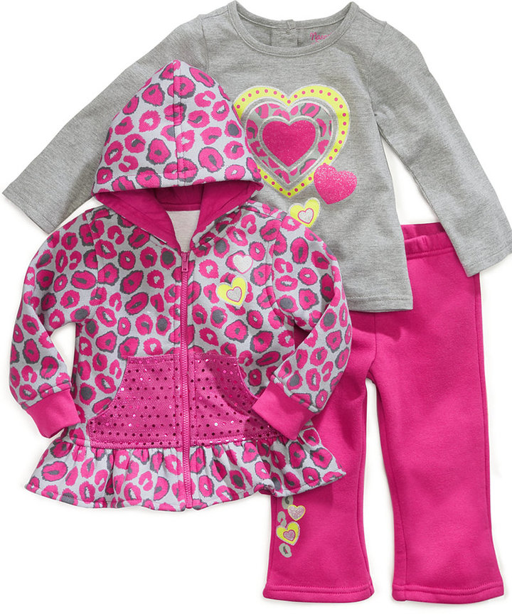 Nannette Baby Set, Baby Girls 3-Piece Heart Shirt, Hoodie and Pants