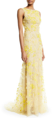 Monique Lhuillier Sleeveless Floral-Embroidered Tulle Trumpet Evening Gown