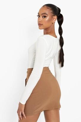 boohoo Stretch Woven Button Detail Wrap Mini Skirt