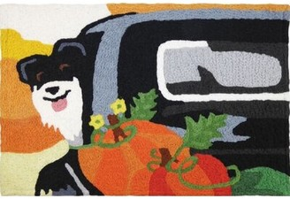 The Holiday Aisle Donald Farmers Market Pup Hand-Tufted Black/Orange Indoor/Outdoor Area Rug